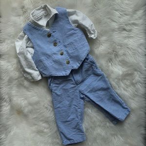 Janie and jack three piece blue linen suit